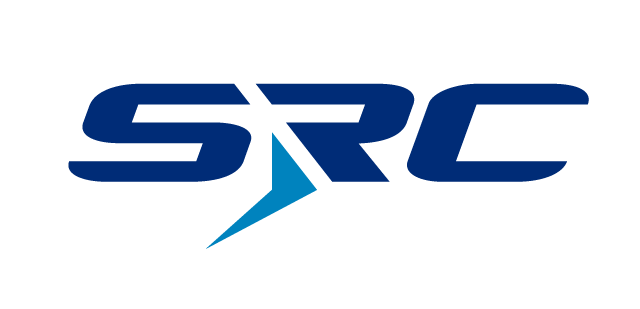 SRC Logo with SRC in dark blue and a light blue arrorw as the bottom part of the R