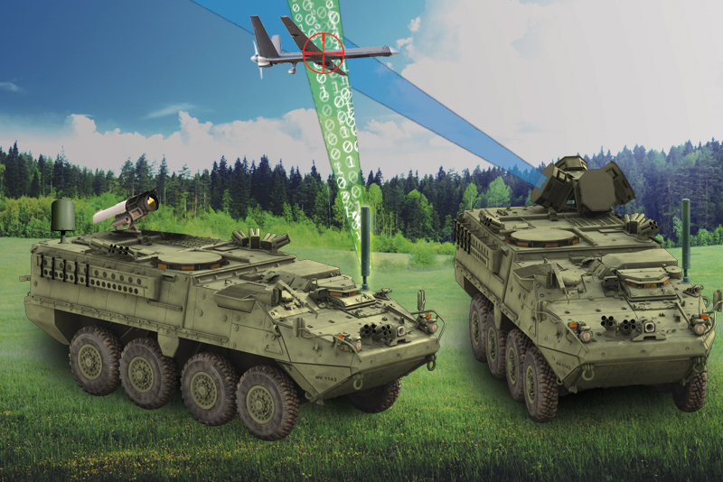 Silent Archer technology on Stryker vehicles in forested area detecting and defeating a group 3 UAS