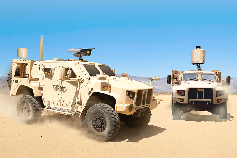 Silent Archer technology on JLTV in desert