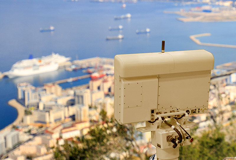 Gryphon R1410 Radar overlooking a port