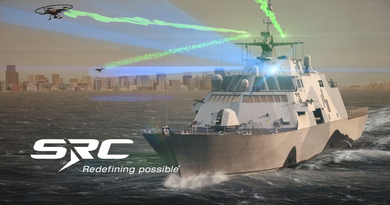 CGI rendering of SRC's shipboard counter-UAS system detecting and jamming small UAS in a harbor